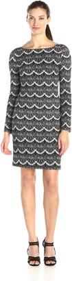 Jessica Howard JessicaHoward Women's Bateau Neck Lace Print Dress