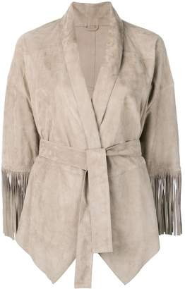 Brunello Cucinelli belted leather jacket