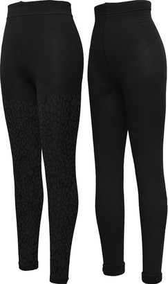 Peds Women's Soft and Warm Plush Fleece Lined Leggings Black/Black Cheetah Pattern Medium (Pack of 2)