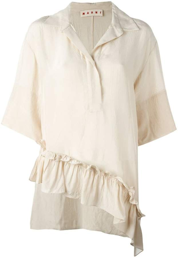 Marni asymmetric ruffle blouse