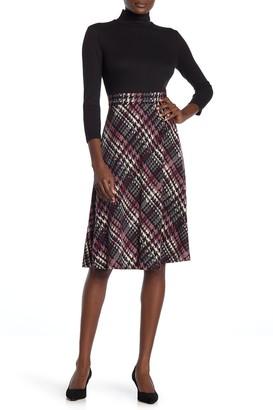Brinker & Eliza Plaid Skirt Twofer Dress
