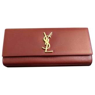 Saint Laurent Kate monogramme Burgundy Leather Clutch bags