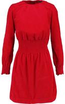 Maje Smocked Cotton-Corduroy Mini Dress