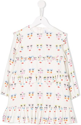 Simonetta Ruffled Face-Print Dress