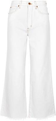 SLVRLAKE Grace White Cropped Wide-leg Jeans