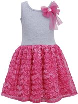 Bonnie Jean Girls 2T- Fuchsia- Bow Shoulder Knit to Bonaz Rosette Mesh Overlay Dress