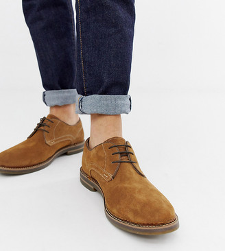 Base London Wide Fit Blake derby shoes in tan suede