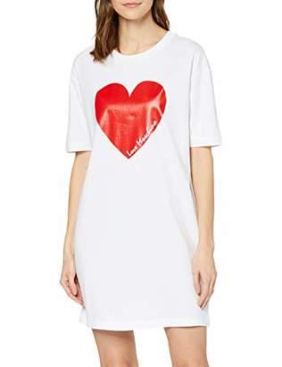 Love Moschino Women's Short Sleeve Jersey Dress_Heart & Italic Logo Print,(Size: 44)