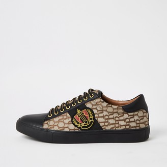 River Island Mens Brown RI jacquard lace-up trainers