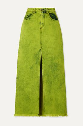 Marques Almeida Frayed Acid-wash Denim Maxi Skirt - Sage green