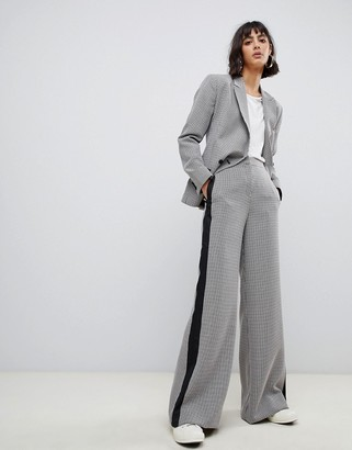 ASOS DESIGN check wide leg suit pants