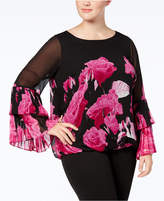 Alfani Plus Size Illusion Bubble-Hem Top, Created for Macy's