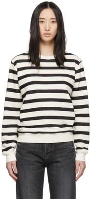 Saint Laurent Off-White and Black Striped Marine Sweatshirt