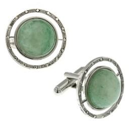 1928 Jewelry Silver-Tone Semi-Precious Jade Round Cufflinks