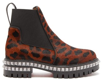 Christian Louboutin By The River Studded Leopard-print Calf-hair Boots - Womens - Leopard