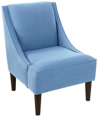 One Kings Lane Quinn Swoop-Arm Accent Chair - Light Blue Linen