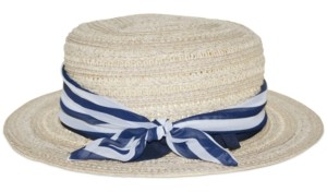 Nine West Wheat-Straw Boater Hat