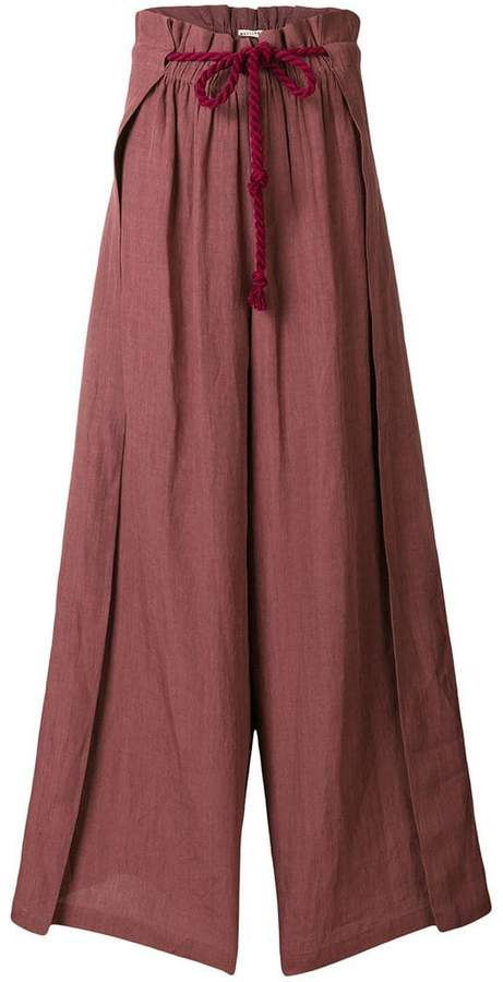 Masscob rope tie wide-legged trousers