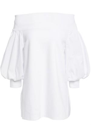 GOEN.J Off-the-shoulder Jersey-paneled Cotton-poplin Blouse