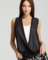 Vince Camuto Contrast Double Layer Drape Top