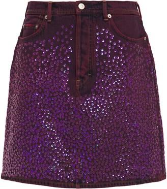 Acne Studios Sequined Embroidered Denim Mini Skirt