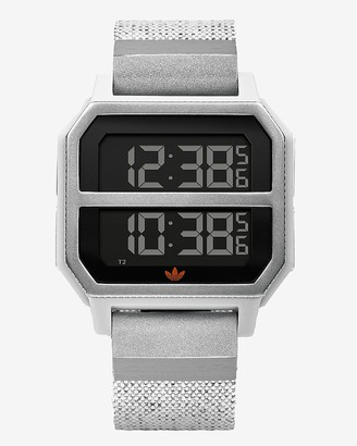 Express Adidas Men'S Archive R2 Silver Silicone Watch