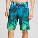 Ocean Current Men's Tropical Allover Print Board Shorts Green