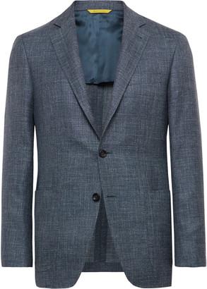 Canali Blue Kei Slim-fit Wool, Silk And Linen-blend Blazer - Blue