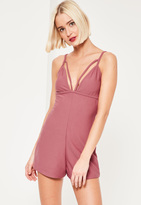 Missguided Bust Strap Detail Romper Pink