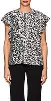 Derek Lam 10 Crosby Women's Ruffle Leopard-Print Crepe Blouse