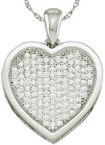 DazzlingRock Collection 0.05 Carat (ctw) 10k White Gold Round Diamond Ladies Heart Pendant