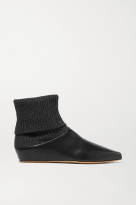 Gabriela Hearst Rocia Leather And Cashmere Sock Boots - Black