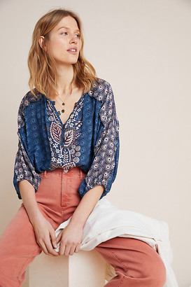 Maeve Letizia Ruffled Blouse By in Blue Size XS