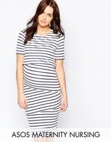 Asos PETITE NURSING Double Layer Bodycon Dress in Stripe