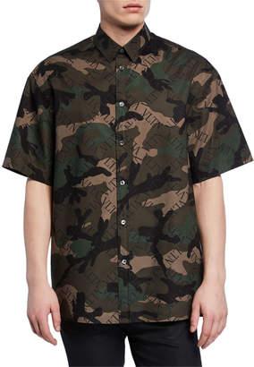 Valentino Men's Camo-Print Short-Sleeve Button-Down Shirt