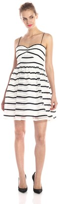 Adrianna Papell Women's Short Stripe Orgnaza Dress
