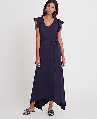 Ann Taylor Ruffle Sleeve Belted Maxi Dress