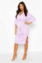 boohoo Maternity Angel Wing V-neck Midi Dress