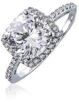 Bling Jewelry Vintage Style Sterling Silver CZ Cushion Cut Engagement Ring