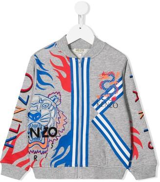 Kenzo Kids Logo Zipped Bomber Jacket