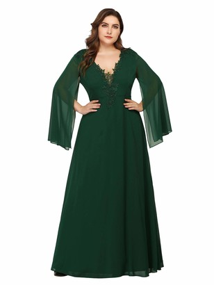 Ever Pretty Ever-Pretty Women's V Neck Long Sleeves Elegant A Line Floor Length Empire Waist Chiffon Plus Size Mother of The Brides Dresses Dark Green 24UK