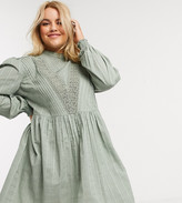 Asos DESIGN Curve high neck mini smock dress with lace inserts in khaki