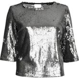 River Island Womens Silver sequin grazer top
