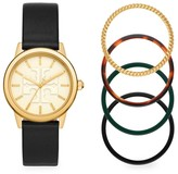 Tory Burch Gigi Goldtone Stainless Steel & Leather Strap Watch Gift Set