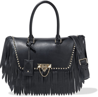 Valentino Demilune Medium Studded Fringed Leather Tote