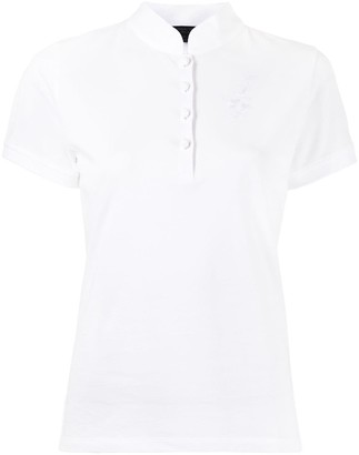 Shanghai Tang Bird-Embroidered Cotton Polo Top