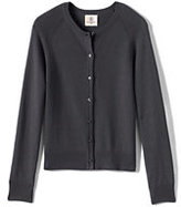 Lands' End Girls Performance Fine Gauge Cardigan-Coal Heather