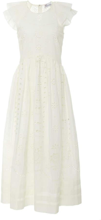 RED Valentino Sangallo Embroidered Cotton Voile Dress