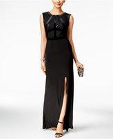 Night Way Nightway Petite Velvet-Trim Lace Gown
