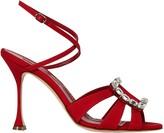 Manolo Blahnik Ticuna Silk Crystal Buckle Sandals